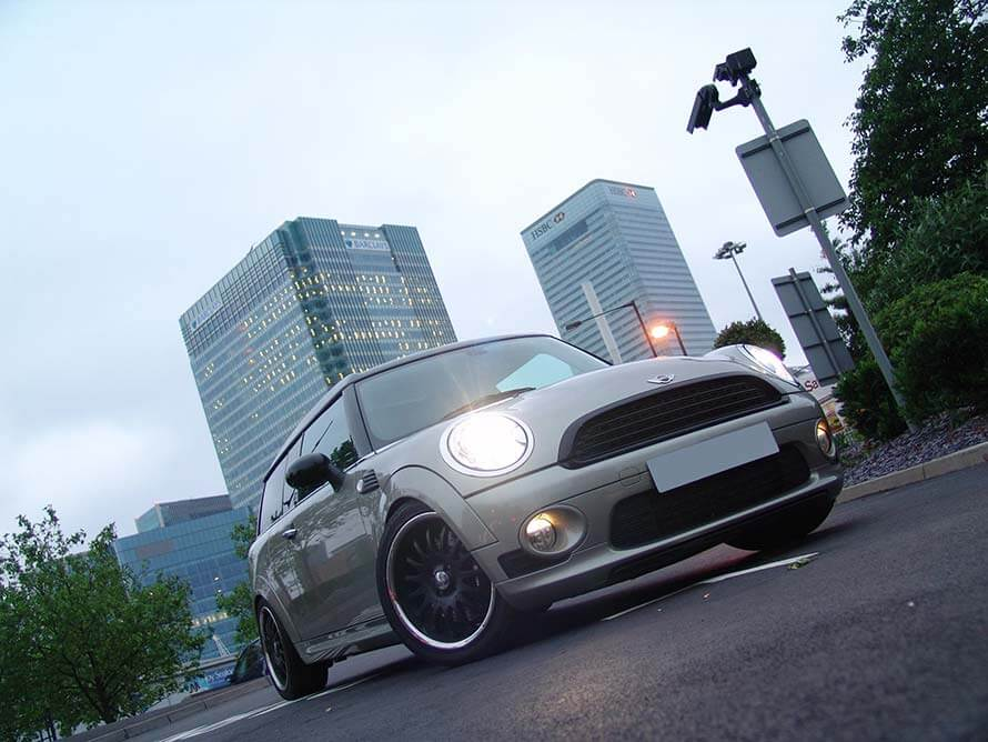 Mini Clubman with lights on
